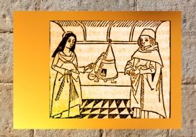 D'après l'image d'un couple au fourneau, expo BNF 100 Trésors. (Marsailly/Blogostelle.)