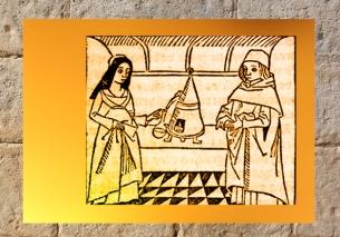D'après l'image d'un couple au fourneau (expo BNF 100 Trésors), tel celui deNicolas Flamel et de Pernelle. (Marsailly/Blogostelle)