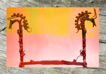 D'après un chenet en Fer, à tête de cheval et de bovidé, métal forgé, âge du Fer. (Marsailly/Blogostelle)