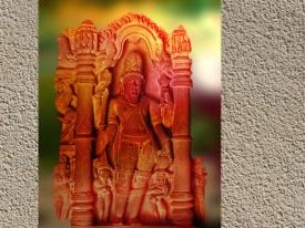 D'après un haut relief du dieu Agni, Gwalior, vers XVe siècle apjc, Madhya Pradesh, Inde. (Marsailly/Blogostelle.)
