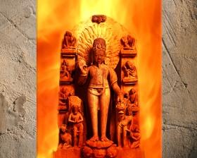 D'après un haut-relief du dieu du Feu Agni, vers XIe-XIIe siècle, Uttar Pradesh, Inde. (Marsailly/Blogostelle.)