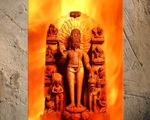 D'après Agni, dieu védique du Feu, haut-relief, vers XIe-XIIe siècle, Uttar Pradesh, Inde ancienne. (Marsailly/Blogostelle)
