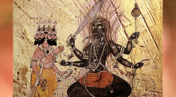 D'après une image du dieu védique Rudra et Brâhma, divinité du principe suprême à quatre têtes, Inde ancienne. (Marsailly/Blogostelle)