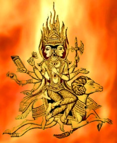 D'après une représentation du dieu Agni sur sa monture, le Bélier. (Marsailly/Blogostelle)