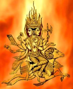 D'après une image du dieu Agni sur son bélier. (Marsailly/Blogostelle.)