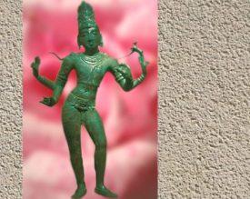 D'après une ronde bosse en bronze de Çiva, XIe siècle, art du Tamil Nâdu, Inde du Sud. Une très gracieuse silhouette... (Illustration Marsailly/Blogostelle.)