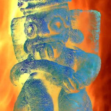 D'après une sculpture de Tlaloc, dieu aztèque du tonnerre, de la foudre et de la pluie, Mésoamérique. (Marsailly/Blogostelle)