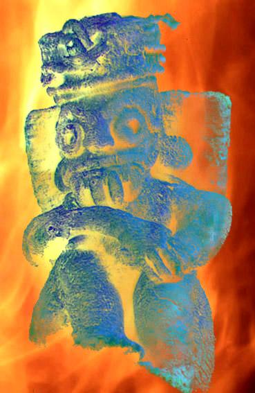 D'après une sculpture du dieu Tlaloc, dieu aztèque du tonnerre, de la foudre et de la pluie, mésoamérique. (Illustration Marsailly/Blogostelle.)