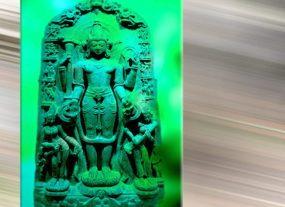 D'après un haut-relief du dieu Vishnu, dynastie Pâla, XIe-XIIe siècle, Bihar et Bengale, Inde. (Marsailly/Blogostelle.)