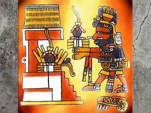 D'après le codex Borgia, Xiuhtecuhtli, dieu aztèque du Feu, Mésoamérique. (Marsailly/Blogostelle)