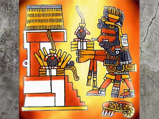 D'après le codex Borgia, Xiuhtecuhtli, dieu du feu aztèque, mésoamérique. (Marsailly/Blogostelle)