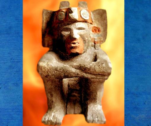 D'après une sculpture de la divinité mésoaméricaine du feu, Xiuhtecuhtli, Mexico. (Marsailly/Blogostelle)