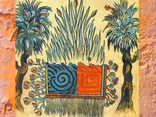 D'après l'Union Alchimique de l'Eau et du Feu, Historia Tolteca Chichimeca, XVIe siècle, Mésoamérique. (Marsailly/Blogostelle)