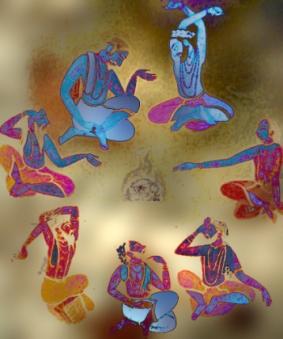 D'après une image desSeptRishis, dans un ouvrage du XVIIe siècle apjc, les sages, Inde ancienne.(Marsailly/Blogostelle)
