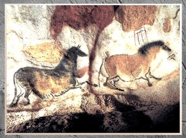 D'après des chevaux et signes, grotte de Lascaux, vers 18 grotte de Lascaux, vers 18 000 avjc, Magdalénien, Dordogne, France, Paléolithique supérieur. (Marsailly/Blogostelle)