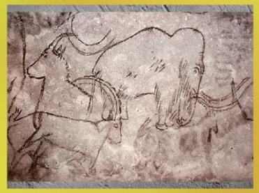 D'après un éléphant et bouquetins, grotte de Rouffignac, Dordogne, vers 15 000 ans avjc, Magdalénien, paléolithique supérieur. (Marsailly/Blogostelle)