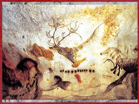 D'après un cerf et signes, grotte de Lascaux, vers 18 000 avjc, magdalénien, Dordogne, France, Paléolithique supérieur. (Marsailly/Blogostelle)