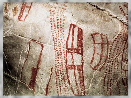 D'après des graphismes, peintures, grotte d'El Castillo, vers 40 800 avjc, Puente Viesgo, Espagne, paléolithique. (Marsailly/Blogostelle)