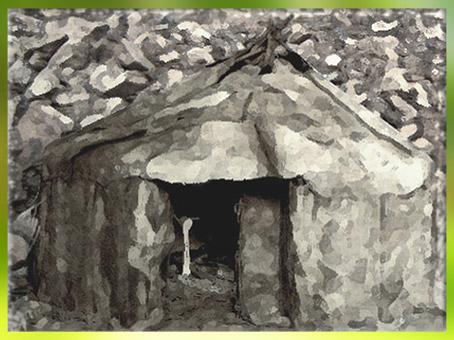 D'après une reconstitution d'habitat magdalénien, peaux et os, Gönnersdorf, Allemagne, paléolithique supérieur. (Marsailly/Blogostelle)