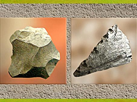 D'après un éclat Levallois et une pointe Levallois, outils en silex, paléolithique. (Marsailly/Blogostelle)