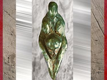 D'après la Vénus de Grimaldi dite le Losange, stéatite polie, vers 22000 -17000 ans avjc, Italie, paléolithique. (Marsailly/Blogostelle)