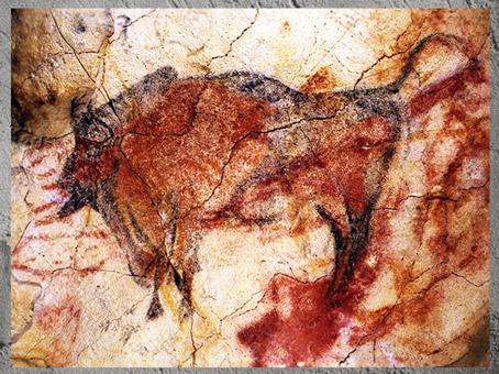 D'après un grand bison, peinture rouge, grotte d'Altamira, solutréen et magdalénien, Espagne, paléolithique supérieur. (Marsailly/Blogostelle)
