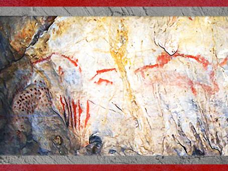 D'après des graphismes, peinture rouge, Cueva del Pindal, vers 18 000-13 000 avjc Espagne, paléolithique supérieur. (Marsailly/Blogostelle)