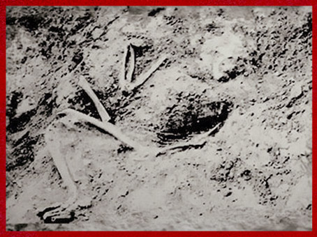 D'après la sépulture d'un Néandertalien, La Ferrassie, Dordogne, France, paléolithique moyen. (Marsailly/Blogostelle)