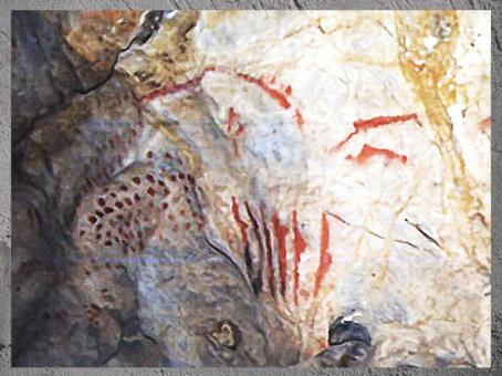 D'après des compositions graphiques, peintures rupestres, Cueva del Pindal, vers 13 000 - 18 000  avjc, magdalénien, Espagne, paléolithique supérieur. (Marsailly/Blogostelle)