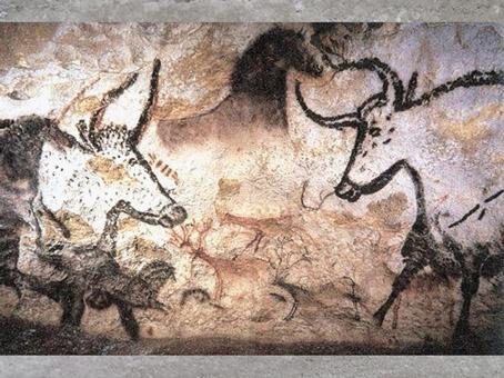 D'après des taureaux, cheval et cerfs, grotte de Lascaux, vers 18 000 avjc, magdalénien, Dordogne, France, paléolithique supérieur. (Marsailly/Blogostelle)