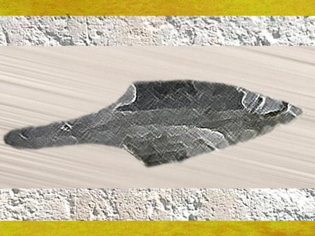 D'après une pointe à emmanchement, silex taillé, vers 26 000 avjc, gravettien, paléolithique supérieur. (Marsailly/Blogostelle)