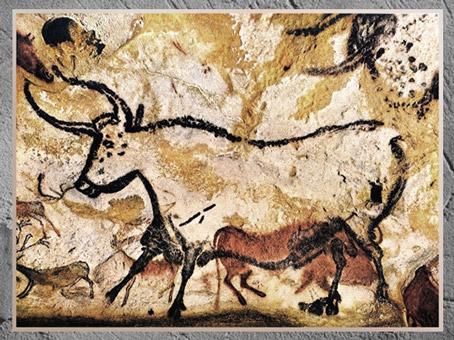D'après un grand taureau, grotte de Lascaux, vers 18 000 avjc, Magdalénien, Dordogne, France, Paléolithique supérieur. (Marsailly/Blogostelle)