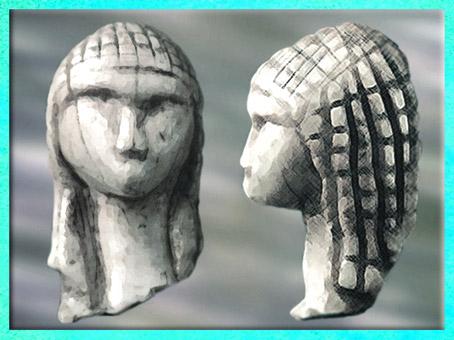 D'après la Dame de Brassempouy, dite à la Capuche, coiffure en résille, ivoire de mammouth, vers 22 000 avjc, Landes, France, paléolithique supérieur. (Marsailly/Blogostelle)