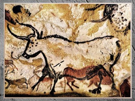 D'après un  taureau, grotte de Lascaux, vers 18 000 ans avjc, Magdalénien, Dordogne, France, paléolithique supérieur. (Marsailly/Blogostelle)