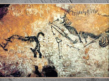 D'après l'homme et le bison blessé, scène du Puits, grotte de Lascaux, vers 18 000 avjc, magdalénien, Dordogne, France, paléolithique supérieur. (Marsailly/Blogostelle)