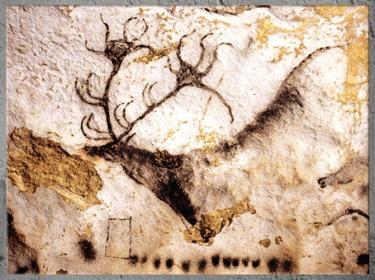 D'après un cerf et graphismes, peinture, grotte de Lascaux, vers 18 000 -10 000 avjc, magdalénien, Dordogne, paléolithique supérieur. (Marsailly/Blogostelle)