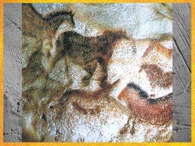D'après des chevaux, grotte de Lascaux, vers 18 000 avjc, Magdalénien, Dordogne, France, Paléolithique supérieur. (Marsailly/Blogostelle)