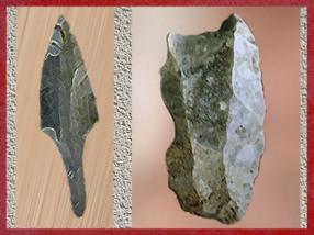 D'après une pointe en silex, à emmanchement, vers 26 000 ans avjc, Gravettien, et un burin, paléolithique. (Marsailly/Blogostelle)