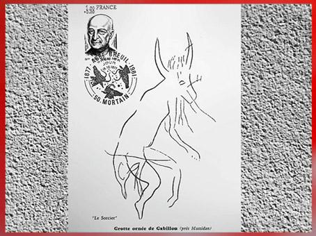 D'après la figure dite Sorcier de Gabillou, croquis de l'abbé Breuil, grotte du Gabillou, vers 25000 ans avjc, Gravettien, Sourzac, Dordogne, France, paléolithique. (Marsailly/Blogostelle)