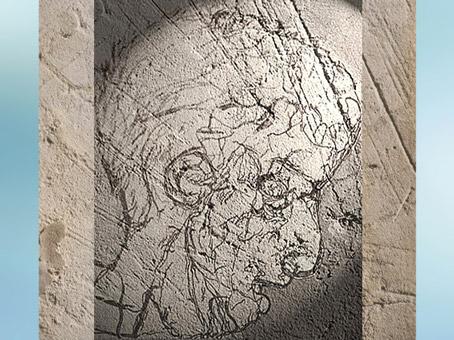 D'après un portrait d'homme, grotte de La Marche, vers 14 000 avjc, Poitou, France, magdalénien, paléolithique supérieur. (Marsailly/Blogostelle)