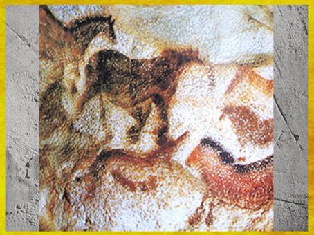 D'après un troupeaux de chevaux, grotte de Lascaux, vers 18 000 ans avjc, magdalénien, Dordogne, France, paléolithique supérieur. (Marsailly/Blogostelle)