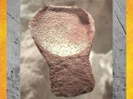 D'après une lampe, grès rose, décor de signes, grottes de Lascaux, Dordogne, France, Magdalénien, paléolithique supérieur. (Marsailly/Blogostelle)