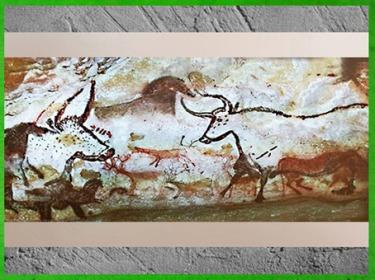 D'après des taureaux et cerfs, grotte de Lascaux, vers 18 000 avjc, magdalénien, Dordogne, France, paléolithique supérieur. (Marsailly/Blogostelle)