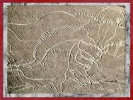 D'après un cheval et bison, gravure, grotte de Cussac, Dordogne, France, Gravettien, paléolithique supérieur. (Marsailly/Blogostelle)