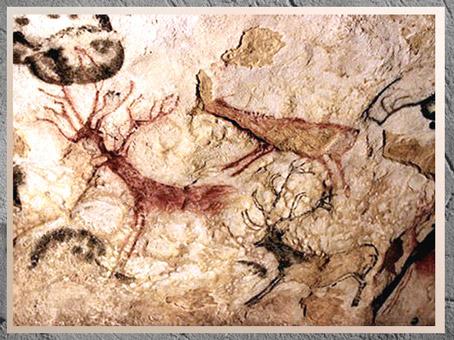D'après des cerfs et signes, grotte de Lascaux, vers 18 000 avjc, magdalénien, Dordogne, France, paléolithique supérieur. (Marsailly/Blogostelle)