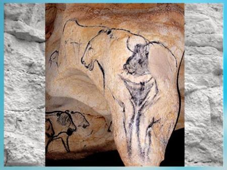 D'après un symbole féminin et bison, grotte Chauvet, aurignacien, 36 000 ans avjc, Pont d'Arc. Ardèche, France, paléolithique supérieur. (Marsailly/Blogostelle)