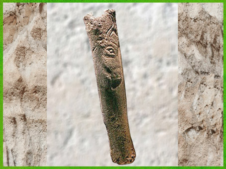 D'après un fragment de bâton percé, bison, os gravé, vers 18000-10000 avjc, Magdalénien, Isturitz, Pyrénées, France, paléolithique supérieur. (Marsailly/Blogostelle)