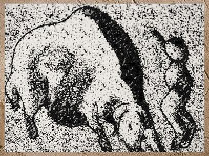 D'après un homme poursuivi par un bison, Roc-de-Sers, Charentes, Solutréen, France, paléolithique. (Marsailly/Blogostelle)