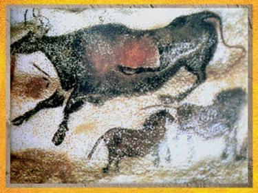 D'après la Vache qui saute, grottes de Lascaux, Dordogne, France, Magdalénien, paléolithique supérieur. (Marsailly/Blogostelle)