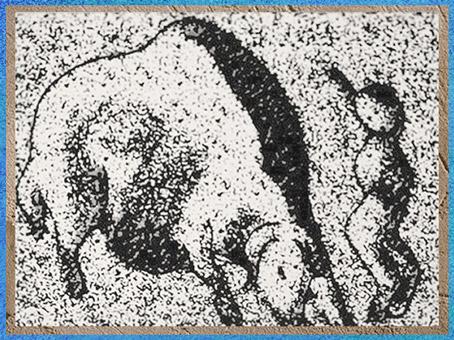D'après un homme poursuivi par un bison, Roc-de-Sers, Charentes, Solutréen, France, paléolithique supérieur. (Marsailly/Blogostelle)